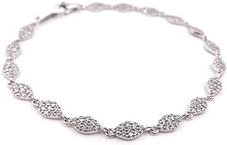 Bracciale donna in oro bianco con zirconi, braccialetto 18 kt. (750‰)