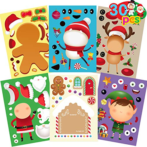 Funnlot Christmas Stickers for Kids 30PCs Christmas Craft Kits for Kids Christmas Game for Kids Make Your Own Christmas Stickers DIY Snowman Sticker Kids Christmas Stickers cute Christmas Activities for Toddlers Colorful Christmas Stickers kids for Home school Activities