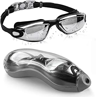 Swimming Goggles Adult, Swim Goggles Anti Fog No Leaking UV Protection with Wide View for Men Women Youth