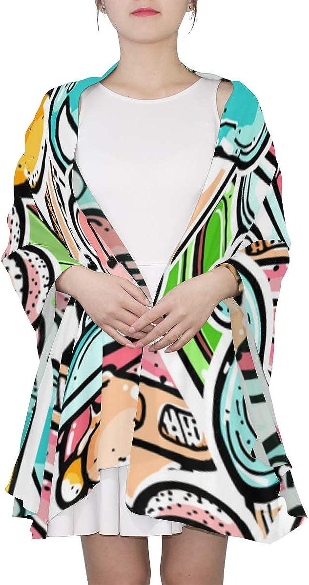 Lightweight Fashion Scarfs For Women Art Creative Fashion Food Graffiti Shawl Wrap Scarf Fashion Scarfs Women Lightweight Print Scarves Womens Scarf Lightweight Shawl Wrap Women