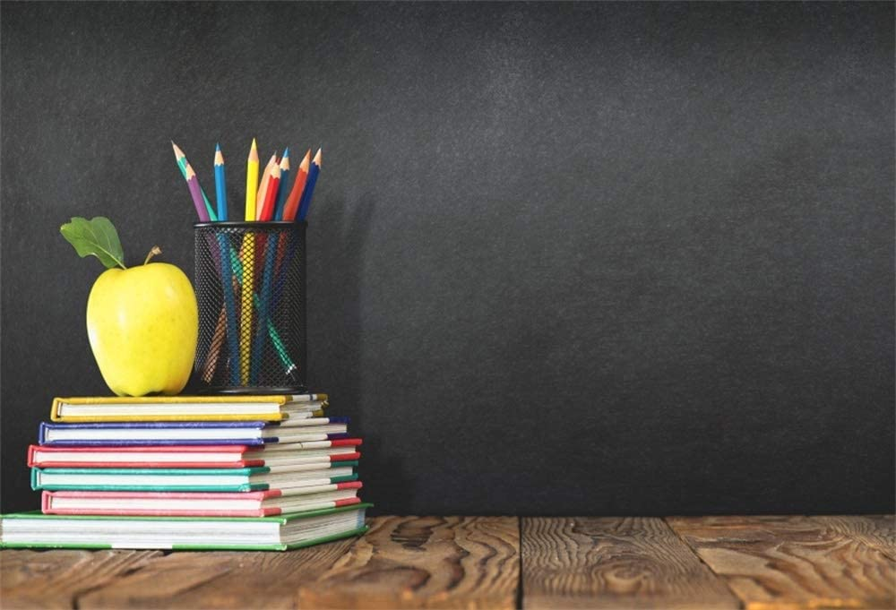 AOFOTO 9x6ft School Room Chalkboard Back to School Backdrop Pencils Vase Stack of Books on Wooden Board Blackboard Background for Photography Kids Baby Portrait Graduation Photo Studio Props Vinyl