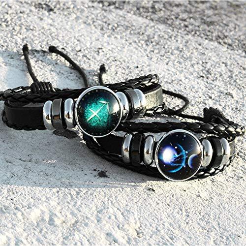 Europäische und amerikanische Neue Glaslegierung zwölf Konstellation Multilayer gewebt leuchtende Punk-Leder Sternenhimmel Armband Schmuck, Waage Sternenhimmel