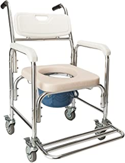 OMECAL Commode Chair w/Wheels, 4 in 1 Multifunctional Aluminum Bath Chair with Padded Seat, 300LBS Weight Capacity, for The Elderly Disabled People Pregnant Women
