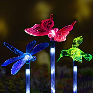 Sooreally Solar Garden Lights, Solar Stake Multi Color Changing Decorative Fiber Optic Butterfly Hummingbird Dragonfly LED Lights for Holiday, Gift, Outdoor Path, Yard, Lawn, Patio (3 different pack)