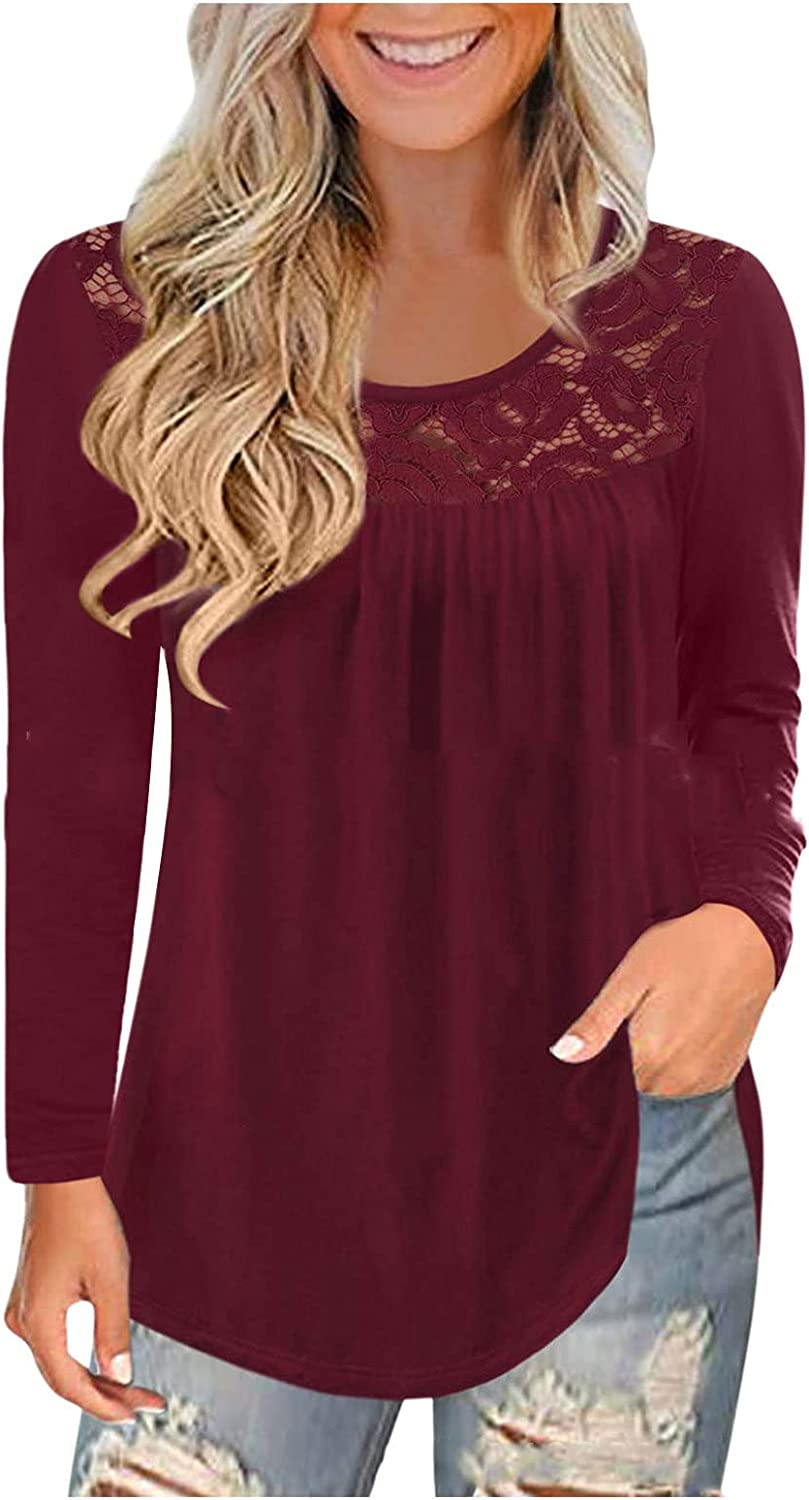 SERYU Women's Plus Size Tops Blouses Long Sleeve Shirts Lace Pleated Tunic Tops