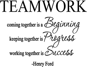 VWAQ- Teamwork Coming Together is A Beginning, Henry Ford Quote Vinyl Decal Home and Office Wall Decor -18097