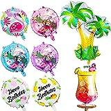 FANDE Hawaii Luau Fiesta decoración, Flamingo Globos de Papel de Aluminio Globos, Fiesta Hawaiana Hawaiana con Flamenco de piña Globos de Foli, para Cumpleaños Wedding, 8Pcs