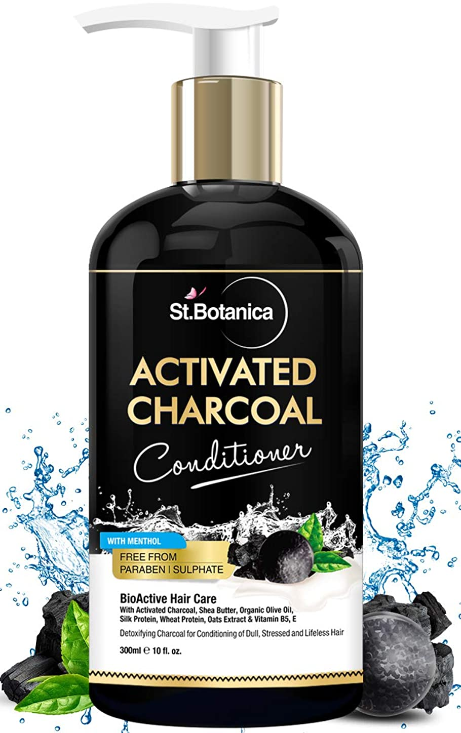 没頭する勇気干渉StBotanica Activated Charcoal Hair Conditioner, 300ml - Deeply Purifies and Removes Impurities, Refreshing Menthol with Organic Olive Oil, Shea Butter, Oats & Wheat Protein.