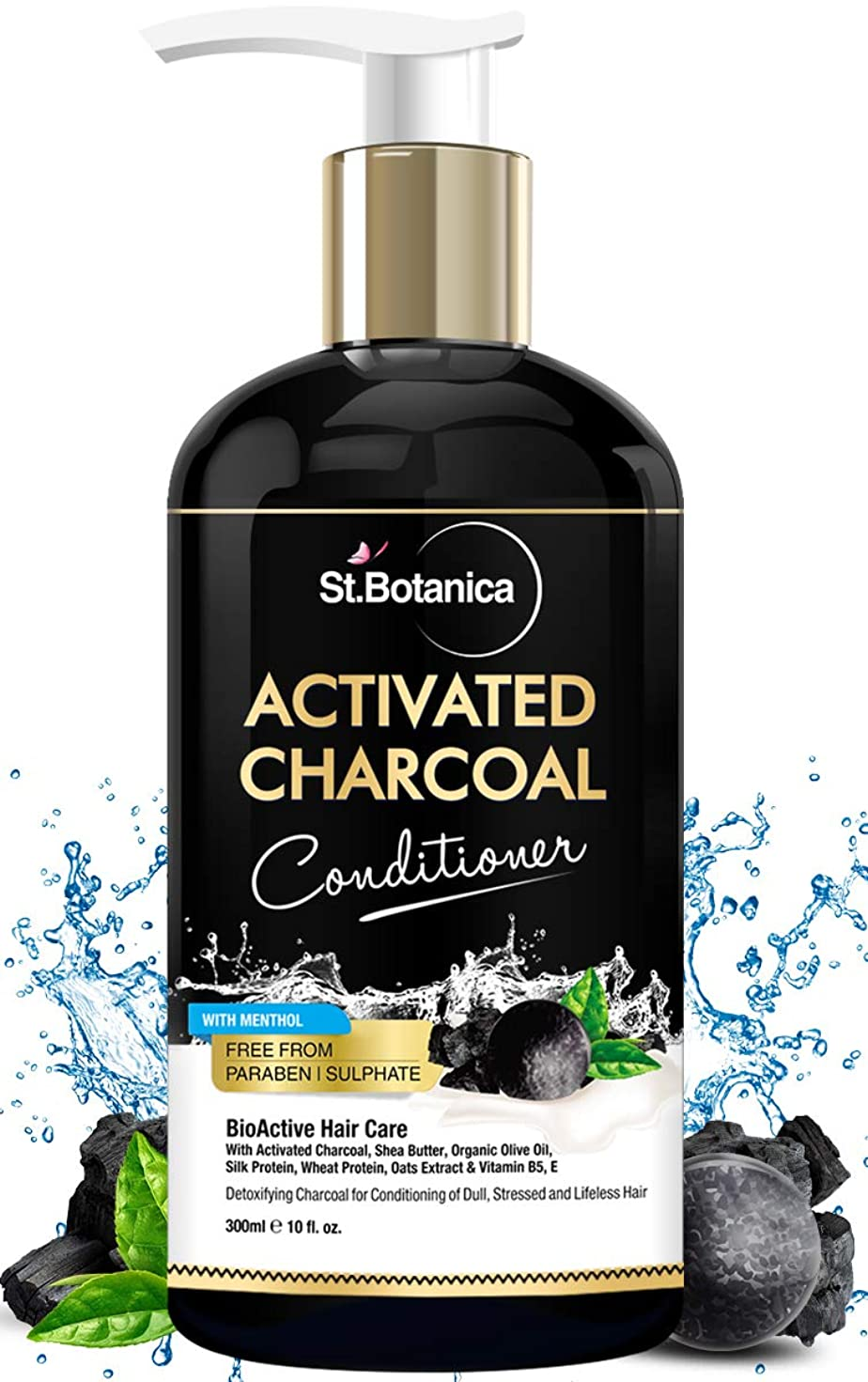 震えの量パパStBotanica Activated Charcoal Hair Conditioner, 300ml - Deeply Purifies and Removes Impurities, Refreshing Menthol with Organic Olive Oil, Shea Butter, Oats & Wheat Protein.