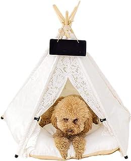 Sgfccyl Tält husdjur tipi katt- och hundsäng med kudde kanvas bärbart tält för små och medelstora katter hundar kaniner