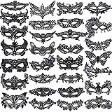 SIQUK 30 Pieces Black Lace Masquerade Mask Women Venetian Masks Lace Mask