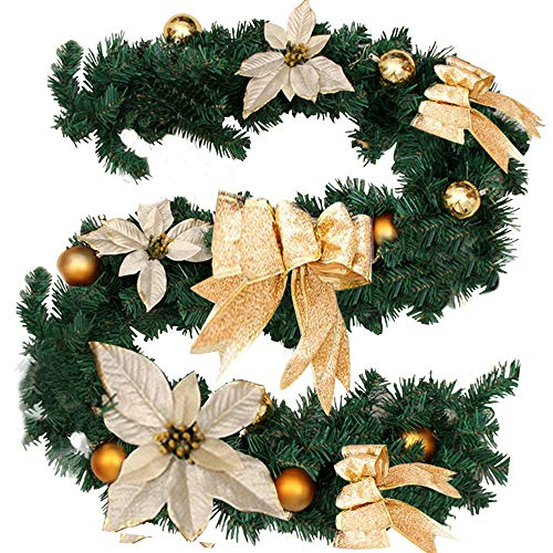 PandaHug 1.8m Christmas Garlands with Golden Bows Flower Festive Pine Wreath Stair Fireplace Tree Decorations (6ft)