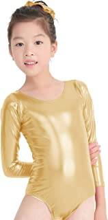 speerise Kids Girls Long Sleeve Shiny Metallic Spandex Gymnastics Dance Leotard
