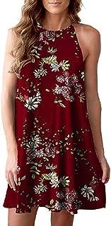 Sexy Dresses for Women,Women Sleeveless Halter Neck Boho Print Casual Mini Beachwear Dress Sundress