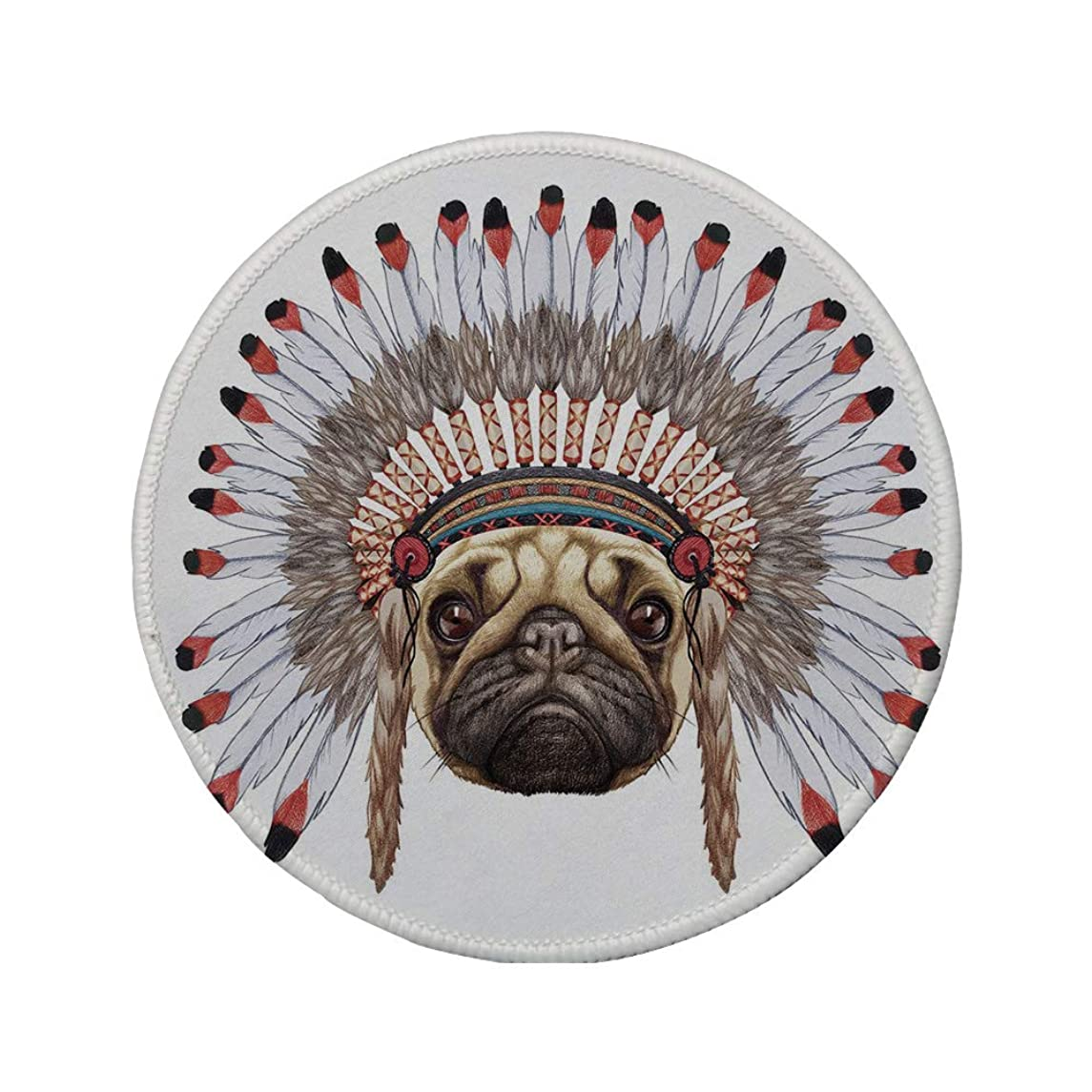 Non-Slip Rubber Round Mouse Pad,Pug,Portrait of a Dog as a Native with War Bonnet Hand Drawn Illustration of Fun Animals Decorative,Red Black Tan,11.8
