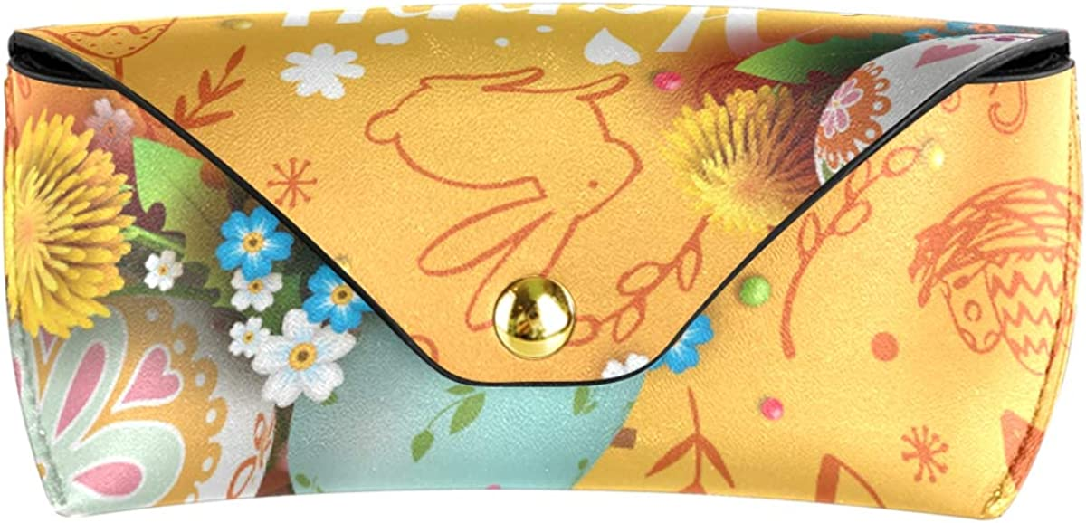 Easter Eggs Flower Multiuse Portable School Sunglasses Case Eyeglasses Pouch Goggles Bag PU Leather