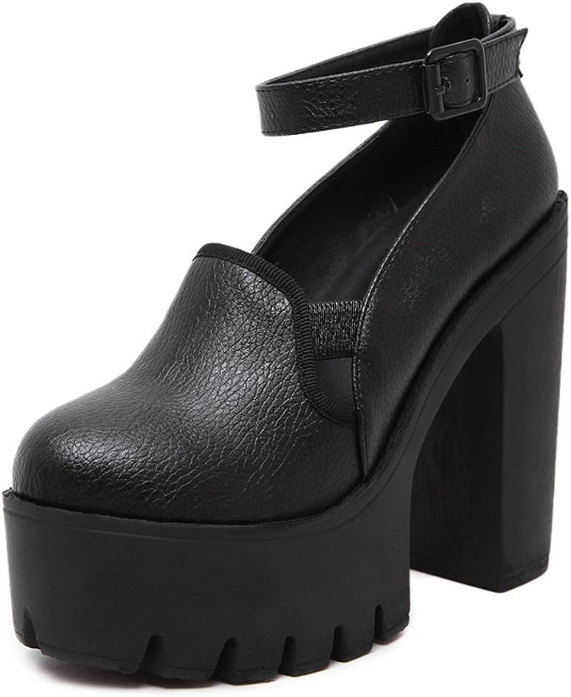 Ladola Womens Firm-Ground Adjustable-Strap Platform Round-Toe Urethane Pumps shoes