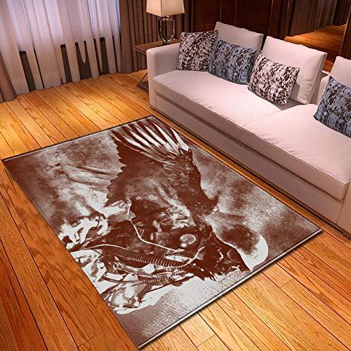 Alfombra Estampada Soldado Esqueleto Blanco marrón Alfombra Moderna Lavable Duradera Anti-desvanecimiento 160 x 230 cm Antideslizante Salón Alfombra Cocina Alfombra