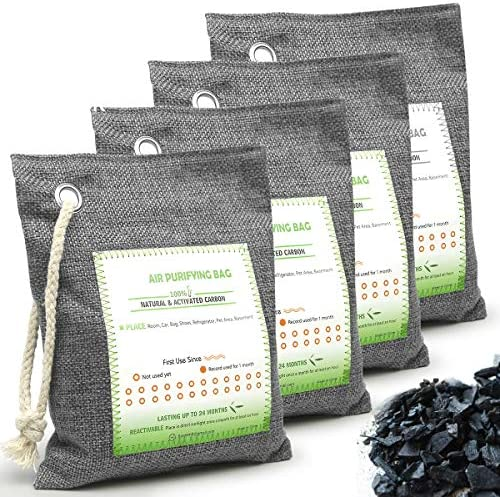 HELESIN Nature Fresh Activated Bamboo Charcoal 4 Pack Breathe Green Bamboo Charcoal Air Purifying product image