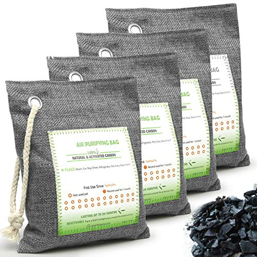 Nature Fresh Activated Bamboo Charcoal 4 PACK Breathe Green Bamboo Charcoal Air Purifying Bag for Home Pets Car Closet Basement