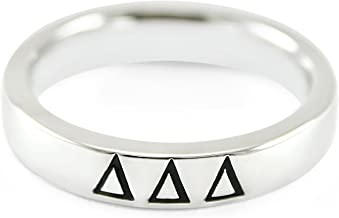 The Collegiate Standard Delta Delta Delta (Tri Delta) Sorority Sterling Silver Skinny Band Ring