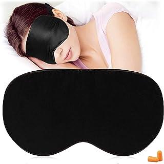 Maschere per dormire in seta e benda sugli occhi , Maschera per gli occhi super liscia per dormire , con cinturino regolab...