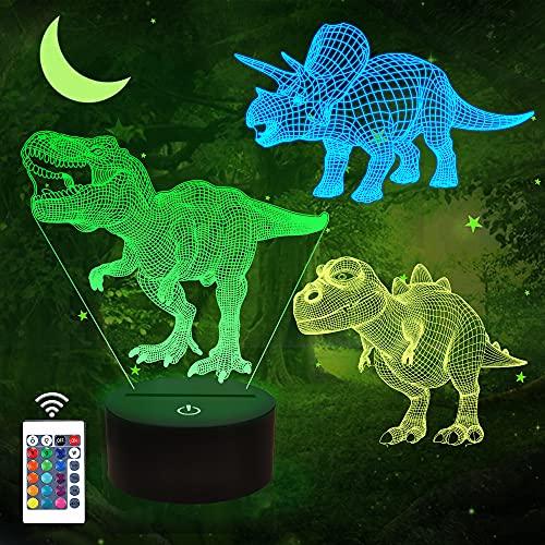 FULLOSUN Dinosaurier-Geschenke, 3D-Nachtlicht für Kinder (3 Muster) mit Fernbedienung und 16 Farbwechsel- und dimmbaren Funktionen, Weihnachtsgeburtstagsgeschenke für Jungen Mädchen Mann Kind
