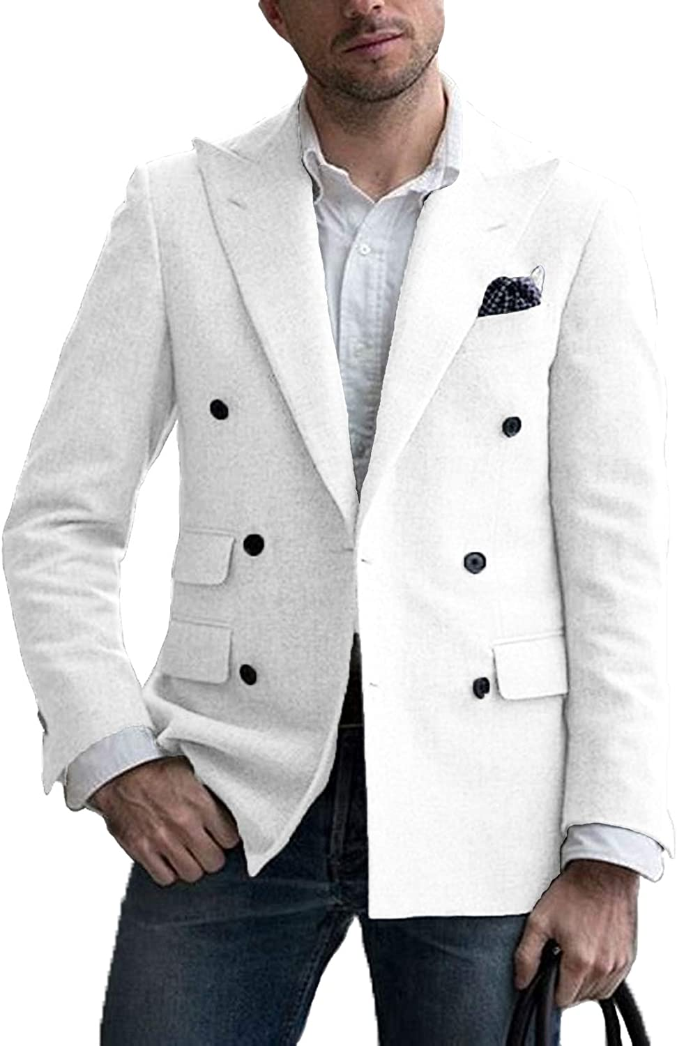 Men Double Breasted Blazer Slim Fit Sport Casual Tuxedo C Max 85% Over item handling ☆ OFF Jacket
