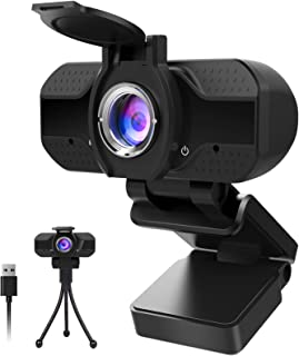 1080P Webcam with Microphone and Privacy Cover, Computer Camera with Tripod, Web Cameras for Computers Laptop Video Callin...
