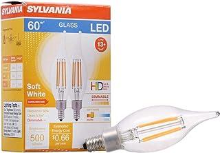Sylvania 40405 LED Filament Light Bulb, B10 Lamp, Candelabra Base, Clear Finish,
