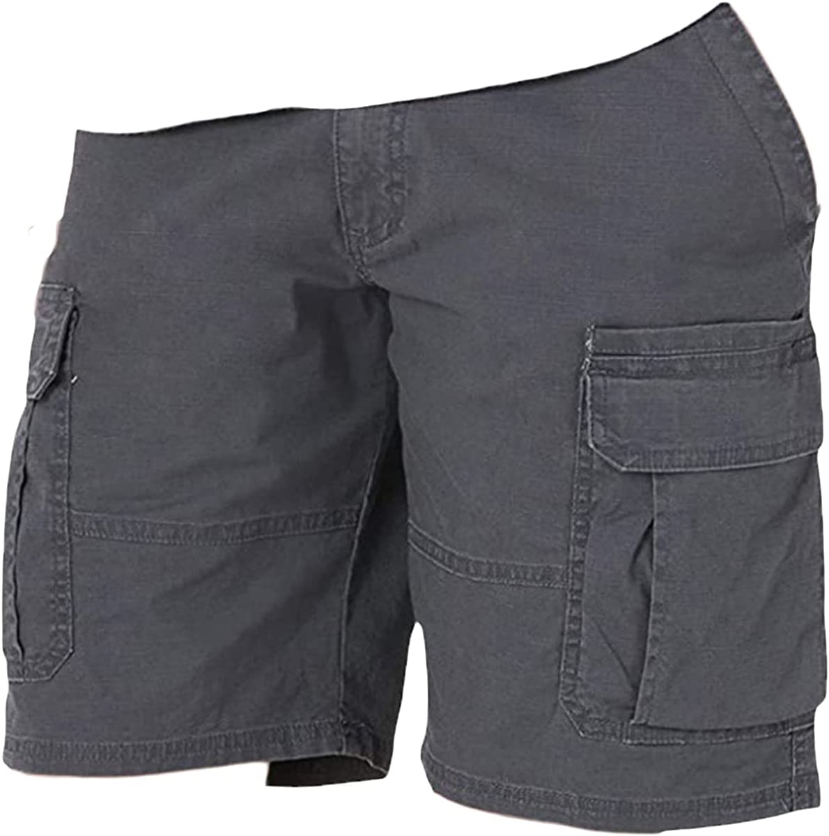 Men's Camo Relaxed Fit Cargo Short Multi-Pockets Premium Twill Shorts Casual Outdoor Ripstop Hiking Work Short Pant (Grey1,5X-Large)