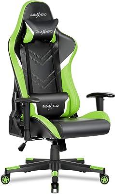 GALAXHERO ゲーミングチェア オフィスチェア 多機能 ゲーム用チェア 事務椅子 パソコンチェア リクライニング ハイバック ヘッドレスト 腰にやさしいランバーサポート 調整できるひじ掛け PUレザー ADJY614GE