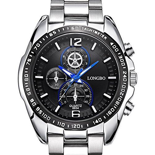 iLove EU Herren-Armbanduhr Sportuhr Analog Quarz 3ATM wasserdicht LED Licht Blau Gauge-Nadeln Edelstahl Silber mit Schwarz Zifferblat