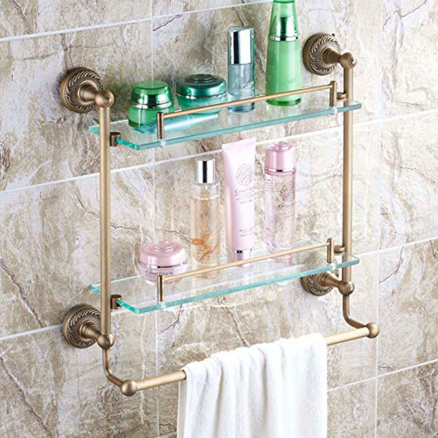 Bathroom copper antique double glass shelf-@wei