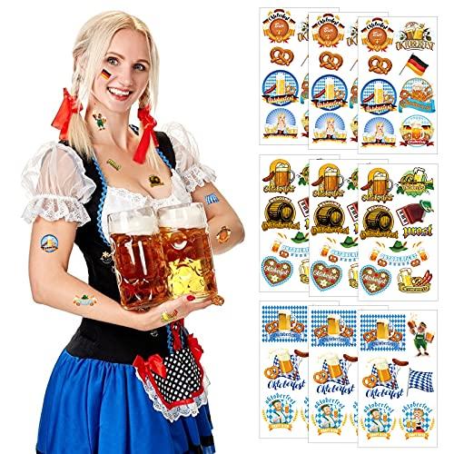 LAMEK 9 Pcs Oktoberfest Tattoos Bayern Klebetattoos Bayrische Deko Wiesn Dekoration Bayerische Flagge Brezel Bierfass Bierkrug Prost Bavaria Party Geschenke für Bierzelten Bier Festival München