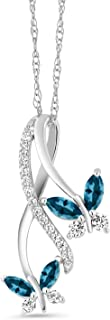 Gem Stone King 10K White Gold Marquise London Blue Topaz and Lab Grown Diamond Butterfly Pendant Necklace, 1.72 Cttw with 18 Inch Chain