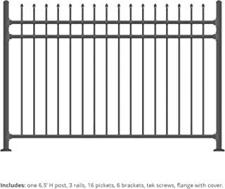 XCEL Black Steel Fence Panel Aspen Style - 6.5ft W x 5ft H - Outdoor Fencing for Yard, Garden, Swimming Pool, on Concrete or Soil, 3-Rail Rackable, One Post Included, Powder-Coated Mental Fence