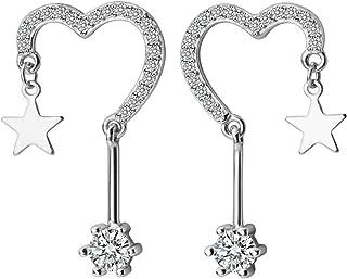 Love Heart Star Dangle Drop Earrings for Women Teen Girls S925 Sterling Silver Shiny Cute Cubic Zirconia Sterlet Stud Earrings Piercing Ear Hypoallergenic Halo Diamond Crystals Jewelry Huggie Gifts