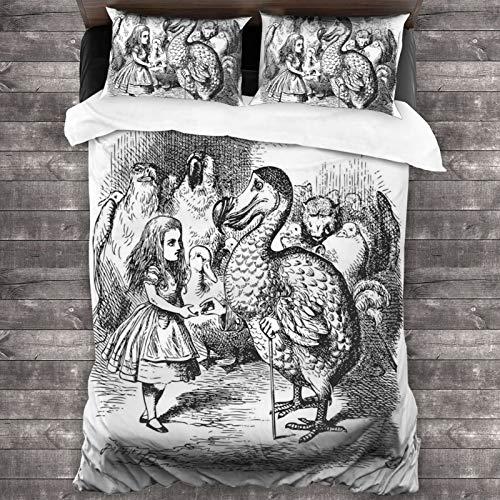 BROWCIN Juego de Sábanas Alicia en el país de Las Maravillas con Dodo Animal Adventures Big Bird Sketch Tema Infantil Juego de Funda nórdica y Funda de Almohada(220*240cm)