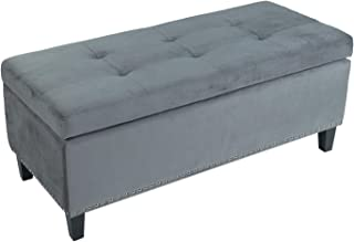 Adeco Bench – Large Capacity-Rectangular Storage Ottomans (Grey, Soft Fabric)