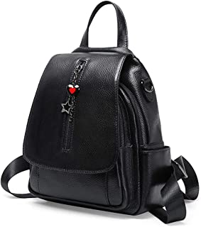 Black Women Leather Backpack Casual Travel Daypack Multipurpose Fashion Bag for Ladies and Girls (Black)