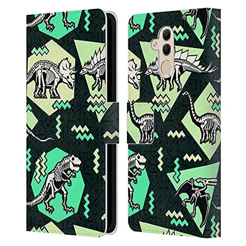 Head Case Designs Licenza Ufficiale Chobopop Scheletri Neon Dinosauri Cover in Pelle a Portafoglio Compatibile con Huawei Mate 20 Lite