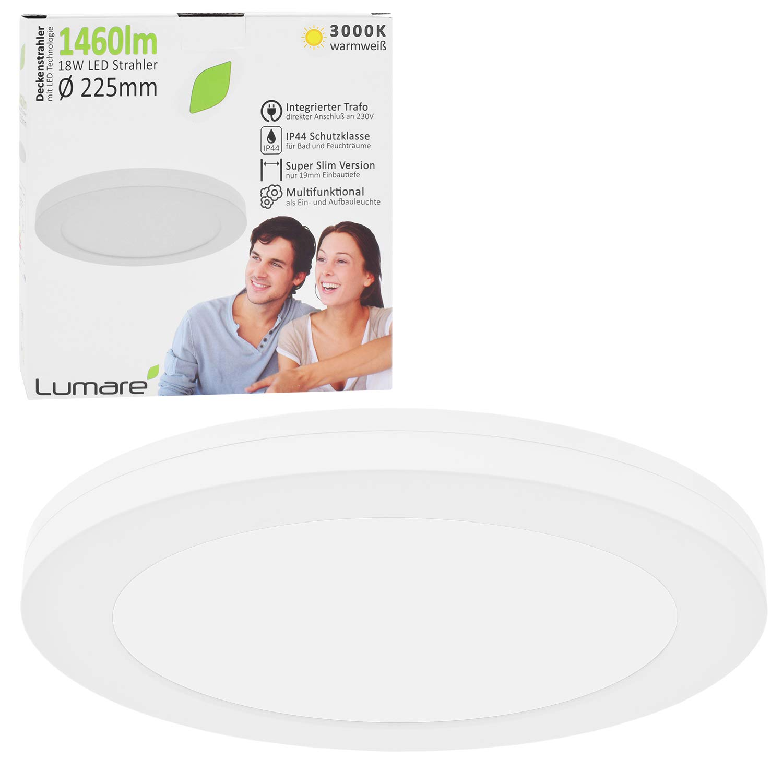 Lumare LED Deckenleuchte 18W Extra Flach rund 18lm 18mm ersetzt 18W  IP18 Deckenlampe für Wohnzimmer Badezimmer Küche Flur Keller Bad  Wandleuchte