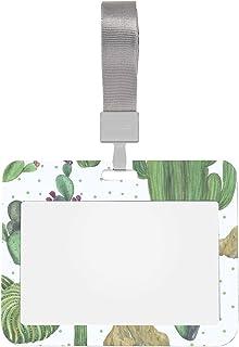 Porte-badge d'identification transparent Beau porte-badge de cactus Oasis aquarelle vert avec lanière Style horizontal Pro...