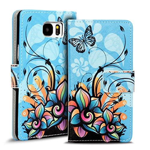Preisvergleich Produktbild Conie PW35340 Print Wallet Kompatibel mit Samsung Galaxy S8 Plus,  Motiv Klapphülle mit HD Druck Muster Etui für Galaxy S8 Plus Hülle Motiv Schmetterling Blau