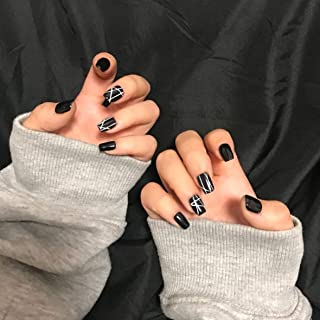MISUD Square Fake Nails Black Glossy with Geometric White Stripe Line Casual Style Flake Nails Press-on Nails for Women and Girls