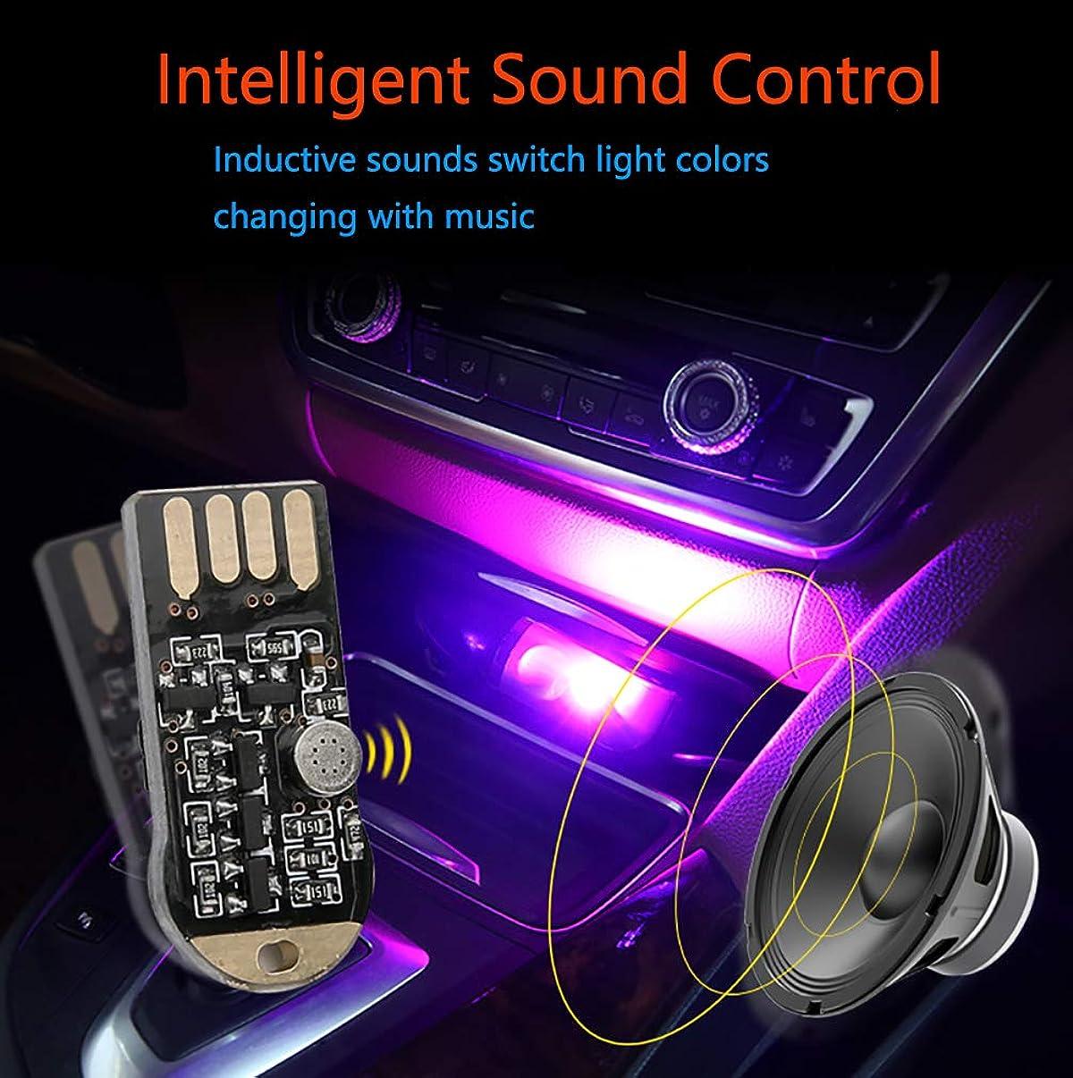 2 Pack-Portable USB Car Intelligent Sound Control Interior Atmosphere Lamp Night Light LED Decoration Light-for Automotive Decorative Lighting Atmosphere Bar Club Party DJ Karaoke Wedding Show