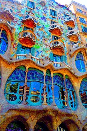 Foto ein 30,5x 45,7cm Hochwertiger Fotodruck von Casa batlló Antonio Gaudi Building, Barcelona, Katalonien, Spanien Hochformat Foto Farbe Bild Fine Art Print. Fotografie von Andy Evans Fotos