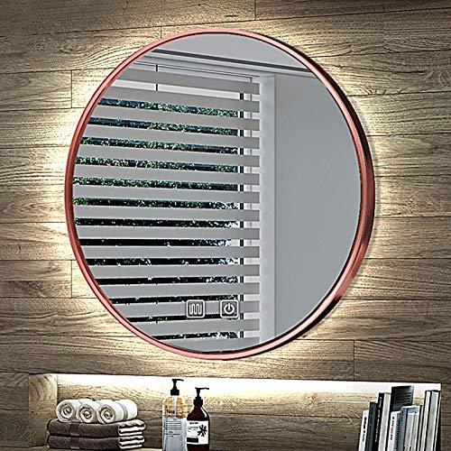 Espejo Decorativo de Pared Espejo Baño, Redondo Espejo Baño con Luz, Antivaho, Colgante, 4 Colores, Fácil Montaje, Clase Energética A++