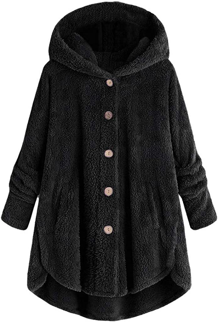 WOCACHI 2021 Womens Fleece Button Coat, Plus Size Loose Winter Solid Button Pockets Fluffy Sweater Hooded Outwear